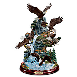 """Mountaintop Majesty"" Hand-Painted Eagle Sculpture"