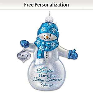 Personalized Glass Snowman Ornament For Daughter Lights Up