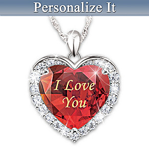 """""""Love Is Written On My Heart"""" Personalized Crystal Necklace"""