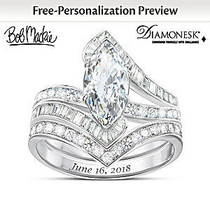 Bob Mackie Personalized Platinum-Plated Bridal Ring Set