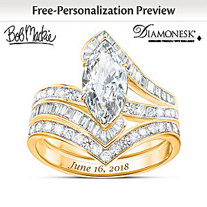 Bob Mackie Personalized 18K Gold-Plated Bridal Ring Set