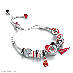 """""""Buckeyes Spirit"""" Bolo-Style Charm Bracelet"""
