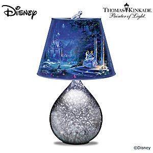 Disney Cinderella Art Glass Lamp With Glass Slipper Finial