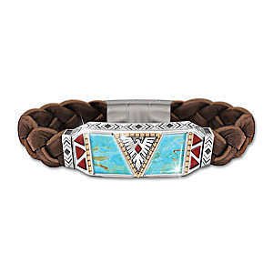 """Native Spirit"" Men's Turquoise And Leather Bracelet"