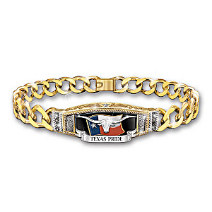 """Pride Of Texas"" Women's Black Sapphire Chain Bracelet"