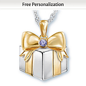 """Grandma's Greatest Gift"" Personalized Birthstone Pendant"