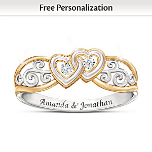 Romantic Diamond Filigree Ring Personalized With 2 Names
