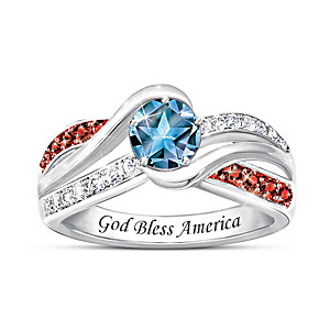 """Spirit Of America"" Ring With Star-Cut Genuine Blue Topaz"