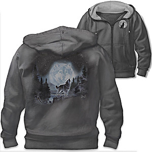 "Al Agnew ""Wolf Pack"" Artistic Cotton Knit Blend Men's Hoodie"