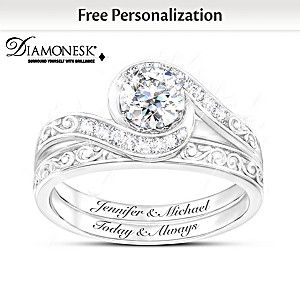 """Love Grows"" Personalized Diamonesk Bridal Ring Set"