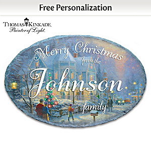 Thomas Kinkade Personalized Holiday Welcome Sign With Name