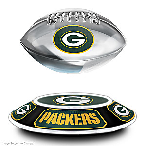 Packers Levitating Football Lights Up And Spins
