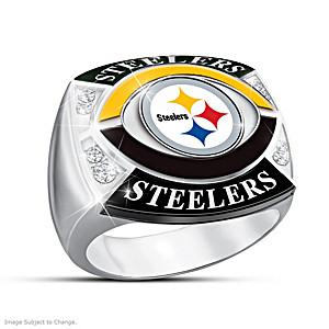 """Pittsburgh Steelers """"Gridiron Pride"""" Men's Crystal Ring"""