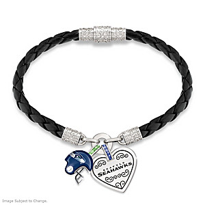 "Seattle Seahawks ""Fan At Heart"" Leather Charm Bracelet"