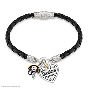 "Pittsburgh Steelers ""Fan At Heart"" Leather Charm Bracelet"