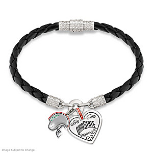 "Ohio State Buckeyes ""Fan At Heart"" Leather Charm Bracelet"