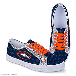 Denver Broncos Women's Shoes With Glitter Trim