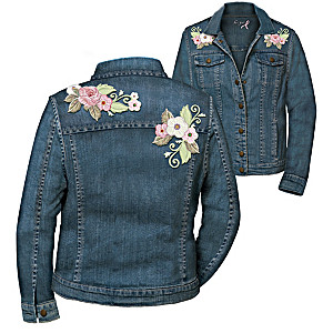 Bouquet Of Hope Women's Embroidered Denim Jacket