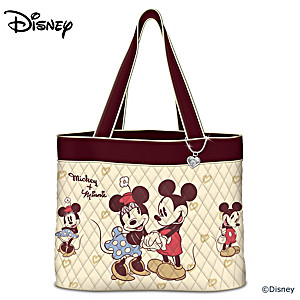 Disney Vintage Art Tote Bag With Mickey Mouse Heart Charm