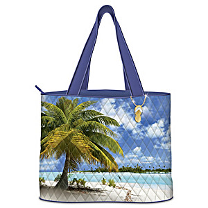 """Tropical Paradise"" Women's Tote Bag With Flip-Flop Charm"