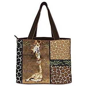 """First Kiss"" Quilted Fabric Giraffe Art Women's Tote Bag"
