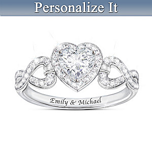 """""""Hearts And Romance"""" White Topaz Ring With Engraved Names"""
