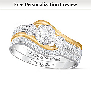 Love's Endless Embrace Personalized Diamond Bridal Ring Set