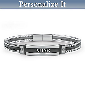"""""""A-Game"""" Personalized Men's Stainless Steel ID Bracelet"""