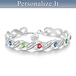 Personalized Bracelet With Up To 6 Birthstones And Names
