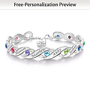 Personalized Bracelet With Up To 12 Birthstones And Names