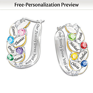 """Our Family Of Joy"" Personalized Crystal Birthstone Earrings"