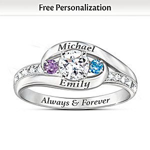 """Together As One"" Personalized Topaz And Birthstone Ring"