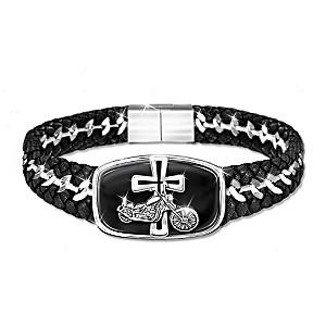 """""""Blessings For The Road"""" Engraved Stainless-Steel Bracelet"""