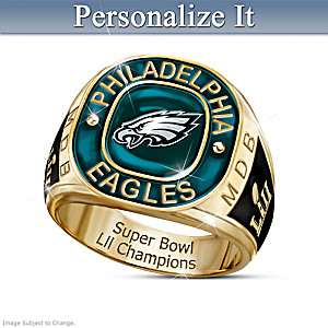 Super Bowl LII Champions Eagles Personalized Men's Ring