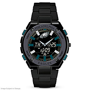"""It's Eagles Time!"" Men's Ani-Digi Chronograph Watch"