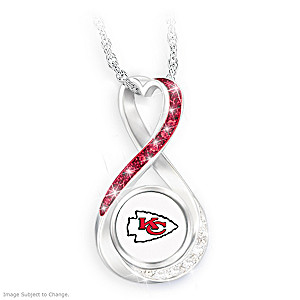 """""""Kansas City Chiefs Forever"""" Infinity Pendant Necklace"""