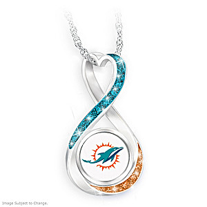 """""""Miami Dolphins Forever"""" Infinity Pendant Necklace"""