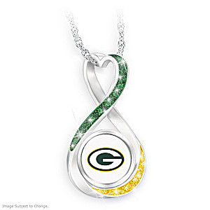 """Green Bay Packers Forever"" Infinity Pendant Necklace"