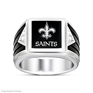 New Orleans Saints Diamond Ring With Laser-Etched Logo