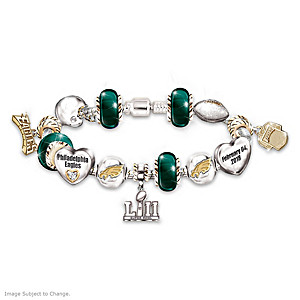 Eagles Super Bowl LII Swarovski Crystal Charm Bracelet