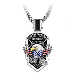 """Don't Tread On Me"" Stainless Steel Motorcycle Dog Tag"