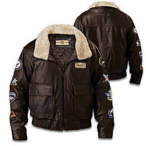 U.S. Navy Men's Leather Bomber Jacket With Military Patches