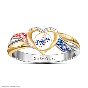 Los Angeles Dodgers Pride Ring With Team-Color Crystals