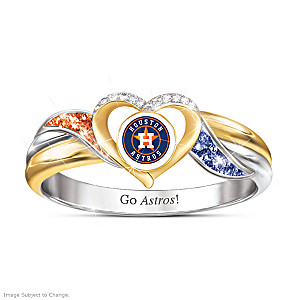 Houston Astros Pride Ring With Team-Color Crystals