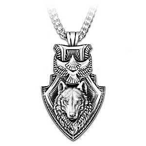 """""""Guardian Spirits"""" Men's Wolf And Eagle Pendant Necklace"""