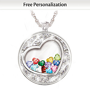 Crystal Heart Birthstone Pendant Necklace For Grandmothers