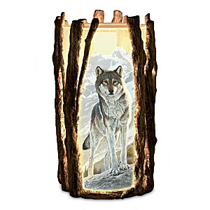 Al Agnew Noble Vision Wolf Art Fully Sculpted Candleholder
