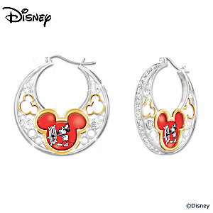 """Dazzling Disney"" Reversible Earrings With Mickey Mouse Art"