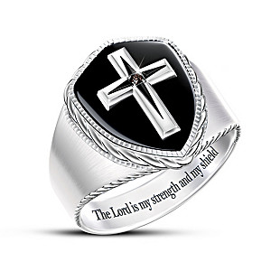 """""""The Lord Is My Strength"""" Men's Black Sapphire Cross Ring"""