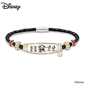 Mickey Mouse & Minnie Mouse Wonders Of Love Leather Bracelet